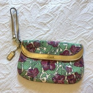 Coach Floral & Gold Clutch Wristlet